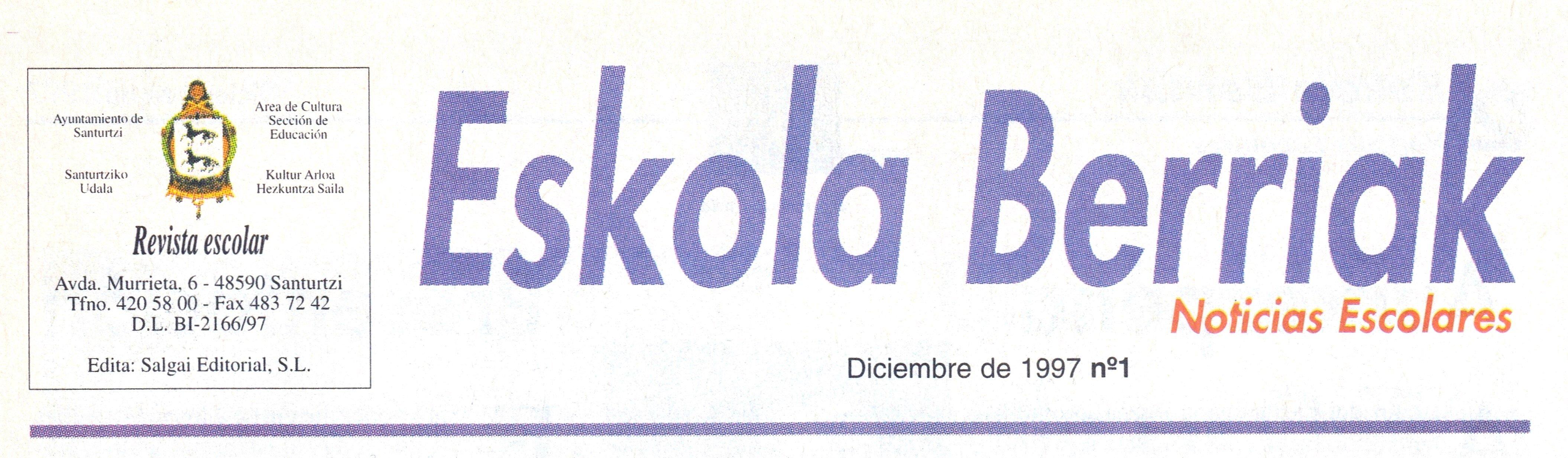 Cabecera Boletín Eskola Berriak