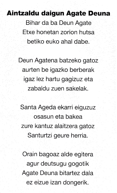 Letra Santa Agueda en Santurtzi