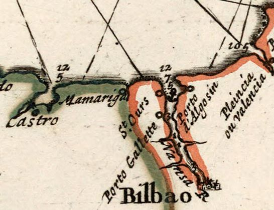 Carte du Golfe de Gascogne 1693 (detalle)
