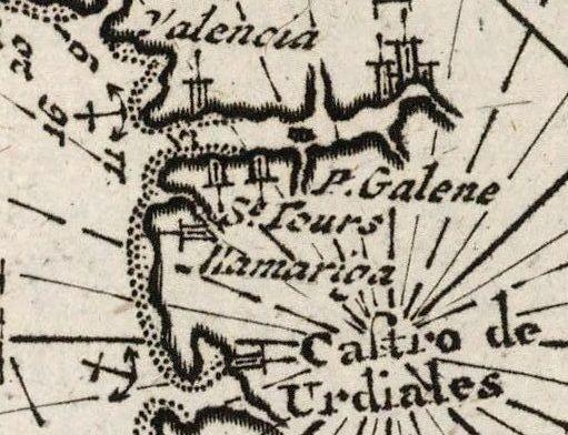 Nieuwe Generale Paskaart vande Bocht van Vrankryk Biscaia en Gallissia 1680 (detalle)
