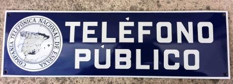 chapa esmaltada teléfono público